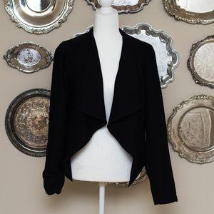BB Dakota Black Drape Front Blazer Large NWT